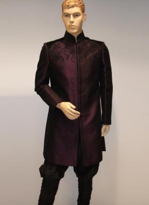 Burgundy national Indian mens wedding suit of silk (pants color bistre)
