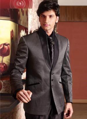 dfe394054ac27 Kawowy świąteczny męski garnitur-dwójka + koszula + krawat z брошью