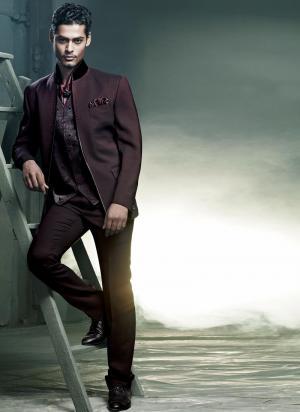 qualité supérieure bonne vente meilleur endroit Bordeaux original androïde costume trois-pièces (avec le gilet) + foulard  avec broche