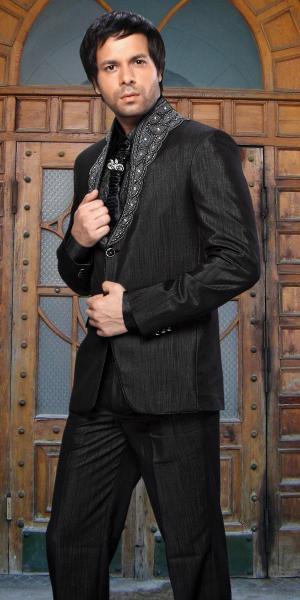 8914a226e9536 Чёрный восточный мужской костюм-двойка + рубашка + галстук с брошью