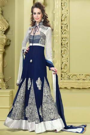 6143d04003d Тёмно-синее с белым длинное необычное платье в пол