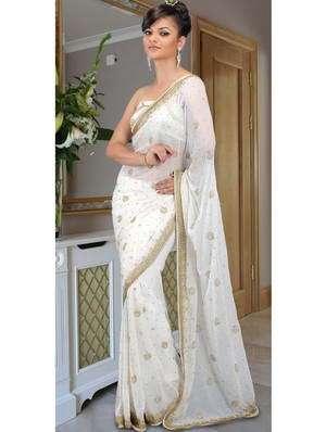 Mariage Indien Blanc Sari De Soie Orné De Paillettes