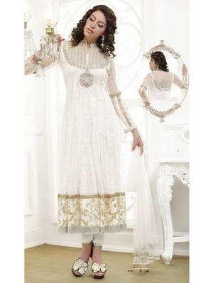 9946a09e3139 Hosszú fehér ruha selyem krepp, egy átlátszó vissza, hosszú ujjú, díszített  strassz, flitterekkel, csipke, gyöngy, gyöngyök