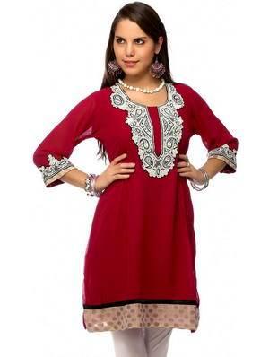 105faa2857e Червена къса рокля / туника от креп-жоржета, ръкав три четвърти, украшенное  кристали, мъниста и перла мънистен