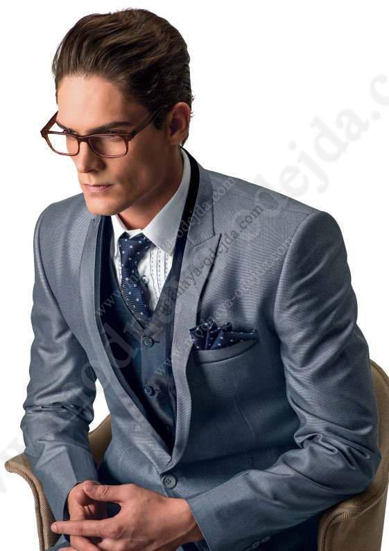 Gri Moda Klasik Erkek Takım Elbise 252 231 L 252 Yelek Beyaz