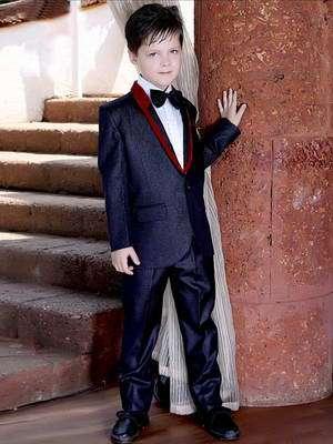 3dff91106 Azulado-negro de gala de traje-dos para niño + camisa blanca con corbata de  moño