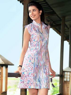 267ce8d509c Цветно кратко лятна рокля от памук, с къси ръкави