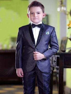 0825d6f23 Gris-azul de gala traje-dos para niño + camisa blanca con corbata de moño