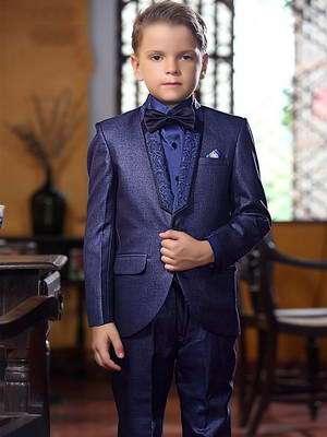 7fa5f6a25c30 Azul oscuro de conciertos con el traje de dos para niño + camisa con corbata