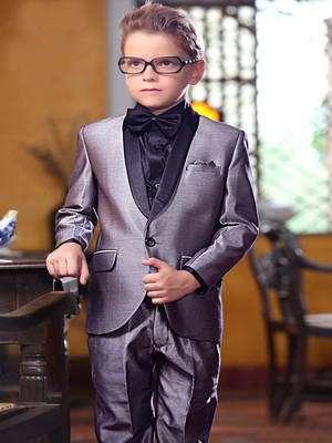 844a12655 Gris traje de gala-dos para niño + camisa de seda y corbata