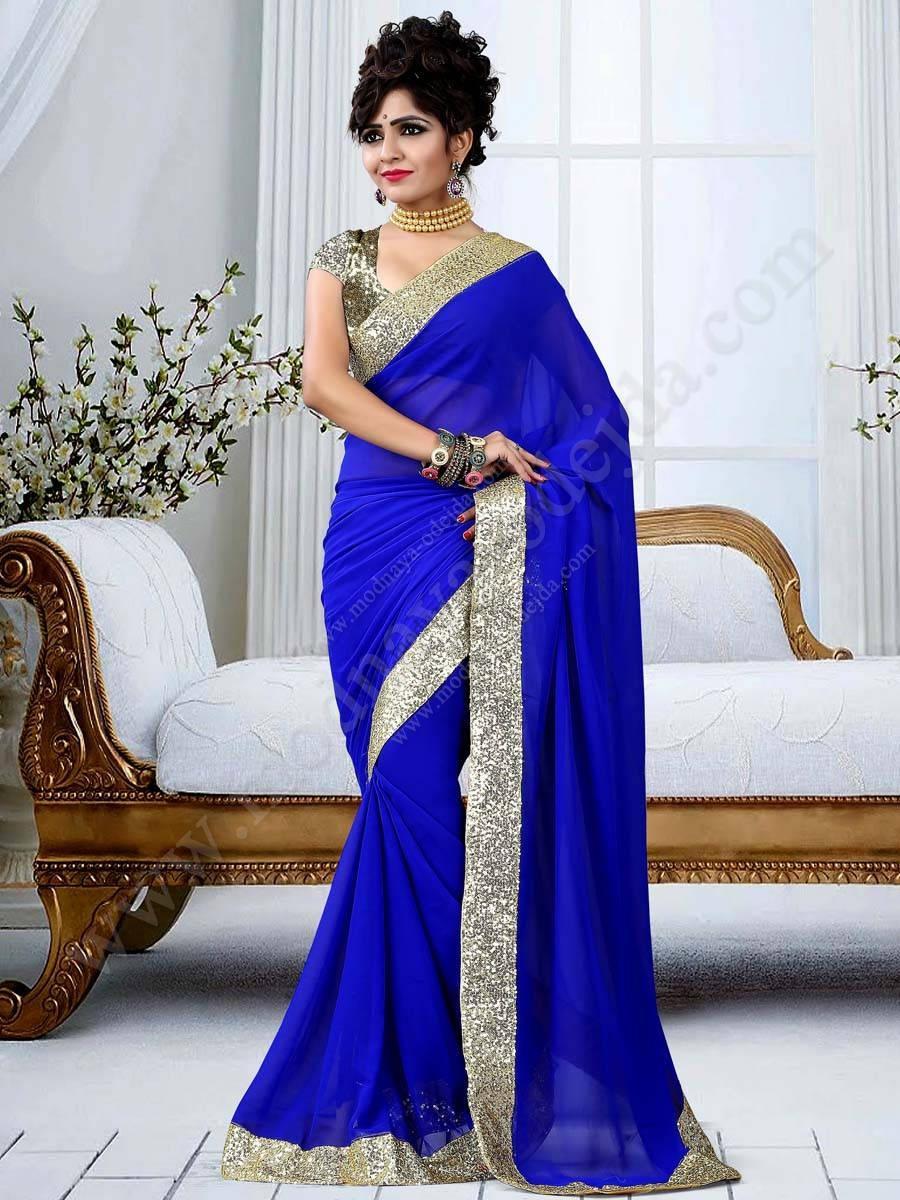 Azul vestido de noche de la india sari de muselina, crema de lentejuelas