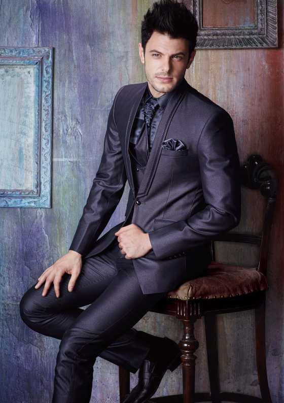 Dark purple male three-piece suit (jacket) + silk shirt with a tie