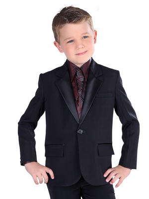 matériaux de qualité supérieure boutique officielle Nouvelle Costume noir-diable + bordeaux chemise + cravate avec broche pour garçon de  2 à 16 ans