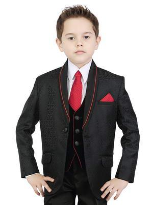 plus récent 5e258 3e542 Noir costume trois-pièces (avec le gilet) + chemise blanche avec une  cravate rouge pour garçon de 2 à 14 ans