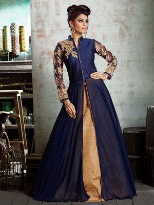 61a80f7df De color azul oscuro vestido largo en el suelo