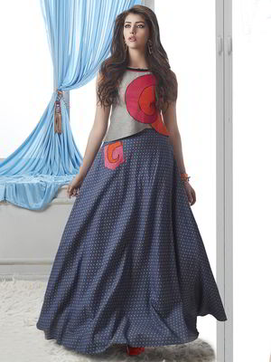 48a6859b2919 Σκούρο μπλε μακρά φούστα στο πάτωμα + ασημί μπλούζα χωρίς μανίκια