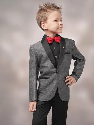 große Auswahl Junge ziemlich billig Schwarz-grauer Anzug-Zweiteiler + Hemd mit Roter fliege für Jungen von 2  bis 14 Jahren