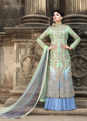 78a7cd9703 Kék-zöld, hosszú ruha / ruha, hosszú ujjú, hímzett lurex, strassz