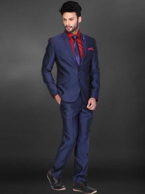 Bleu Costume Homme Diable Chemise Rouge Avec Une Cravate