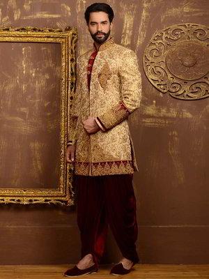 Indiai esküvői férfi öltöny  krém brokát sherwani + sötét piros nadrág  anyaga bársony 25b7e2f3bf