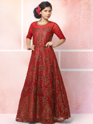 93043422e22c Κόκκινο μακρύ φόρεμα στο πάτωμα από guipure