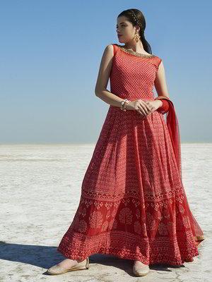 Rotes langes Sommer-Kleid / Sommerkleid aus Chiffon