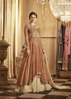 2014c834da Brązowe przezroczyste długa sukienka w podłogę z szyfonu z kremowej na dole  spódnicy
