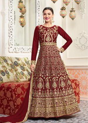 6e106380e415 Σκούρο κόκκινο μακρύ φόρεμα στο πάτωμα
