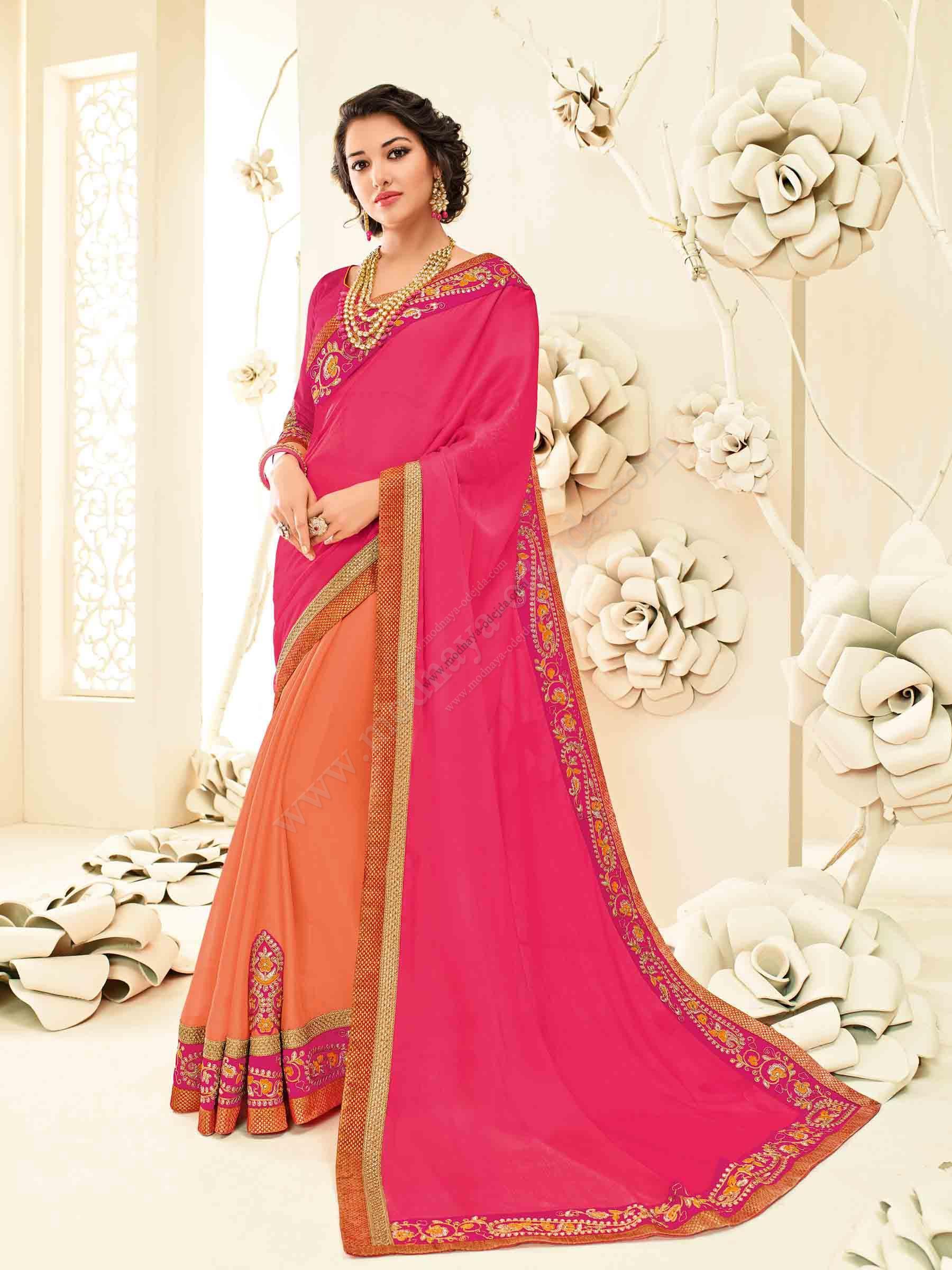 40bce7b353d Оранжевое и розовое шифоновое индийское сари - индийское сари ...