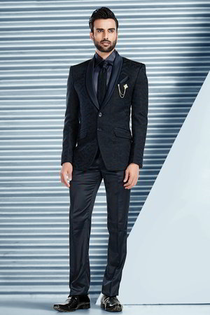 Homme Bleu Une Nuit Costume Avec DiableChemise Cravate 5RLjqc34A