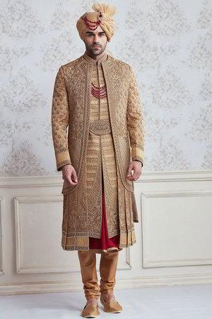 Golden Beige Mit Rotem National Herren Hochzeitsanzug Aus Seide