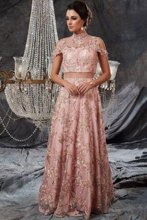 Mit Aus Rosa Langes Verziert Perlen Kleid Und Pailletten Guipure iuPkXZ