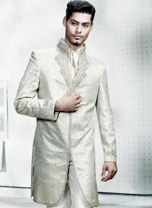 Blanc national indien de mariage costume homme de la soie - Costume blanc homme mariage ...